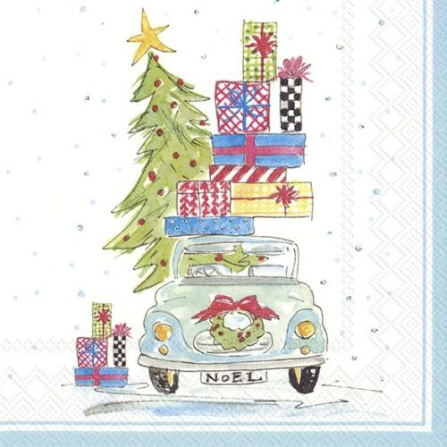 4 Lunch Paper Napkins for Decoupage Party Table Craft  Vintage Noel Car