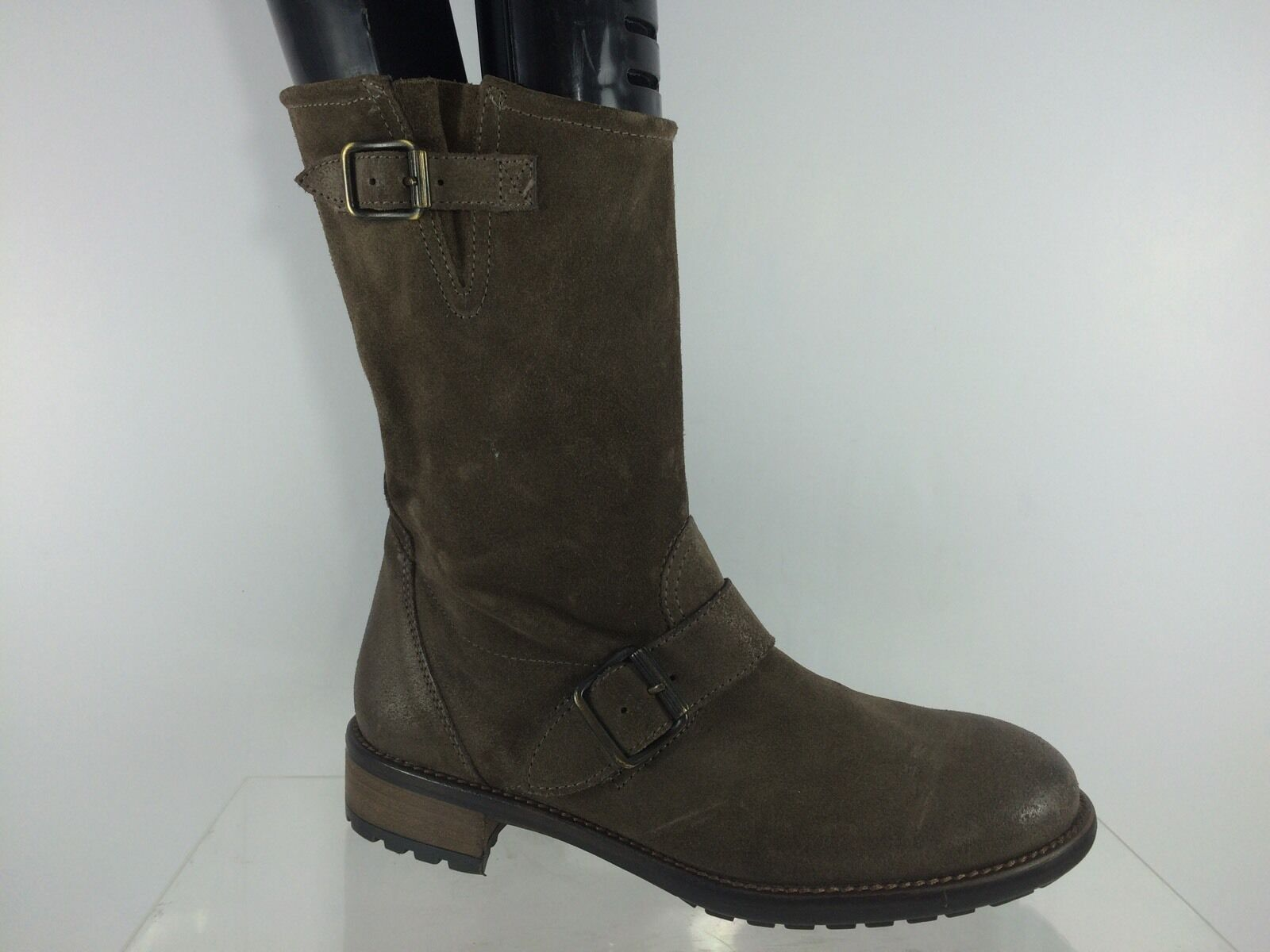 455 Paul Green Womens Brown Suede Leather Short Buckle Boots 3.5, US 6