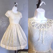 Vintage Retro 50s semi sheer pinup rockabilly ivory cupcake dress