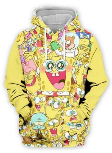 Cute SpongeBob3D Print MensWomens Hoodie Sweater Sweatshirt Pullover Jumper tops