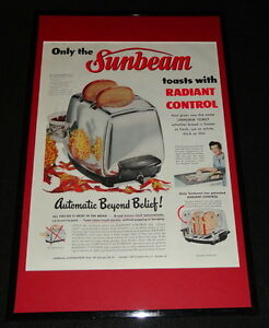 1955-Sunbeam-Toaster-Framed-ORIGINAL-11x17-Advertising-Display