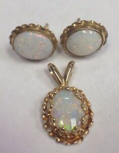 Image Is Loading Vintage 14k Yellow Gold Opal Earrings Amp Matching