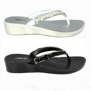 WOMENS-LADIES-WEDGE-JELLY-SANDALS-LOW-HEEL-FLIP-FLOPS-DIAMANTE-TOE-POST-SIZE