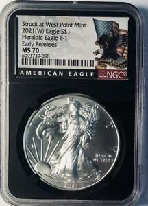 2021 (W)   Silver Eagle - Heraldic Eagle Type 1 - NGC MS-70 - Early Releases