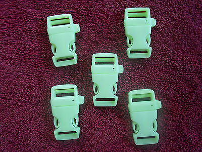 5 Glow In The Dark  Half Inch 1/2 inch Paracord Buckle With Whistle