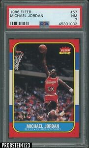 1986 Fleer Basketball #57 Michael Jordan RC Rookie HOF PSA 7 w/ Wax Pack Wrapper