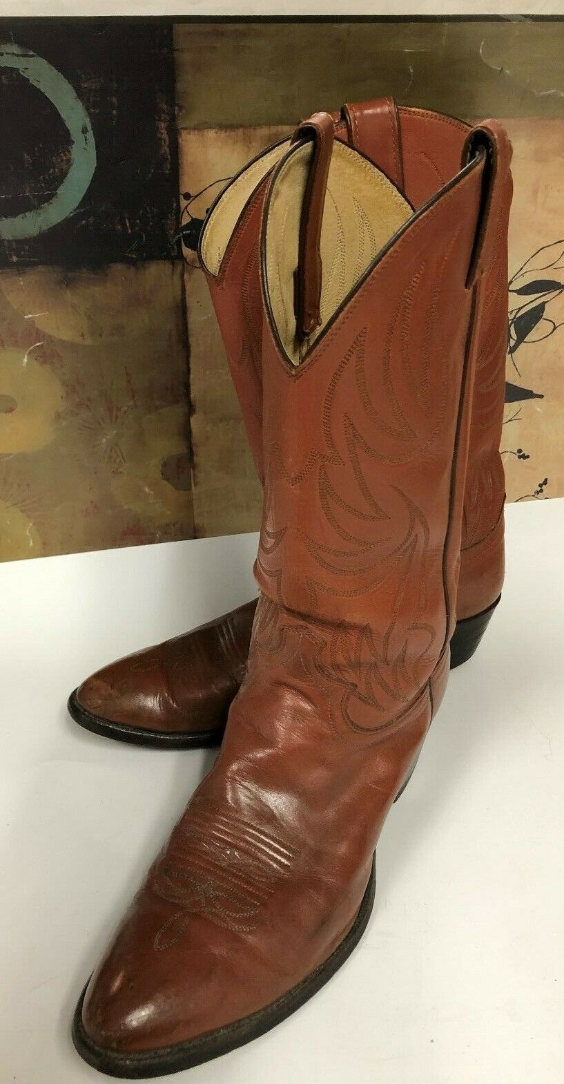 JUSTIN Leather Boots Cowboy Western N5412 USA Distress Brown 10. D GUC