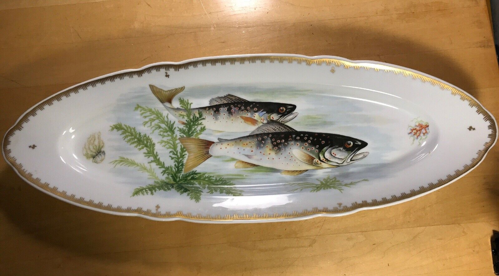 Vintage Hand Painted Salmon Platter 24   Made in France