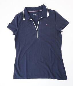 Tommy Hilfiger Poloshirt Polohemd Damen Gr.M blau uni Piquè -S1279