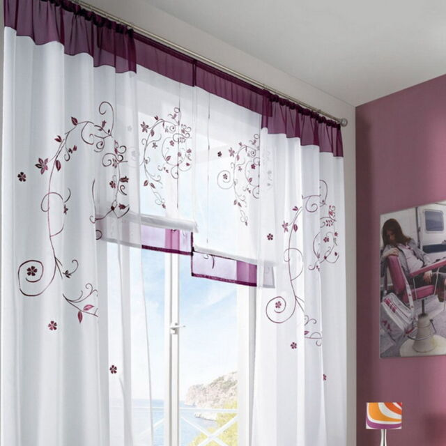 BD 1PC Window Curtain Screens Embroidered Leaves For Living Study Room Bedroom