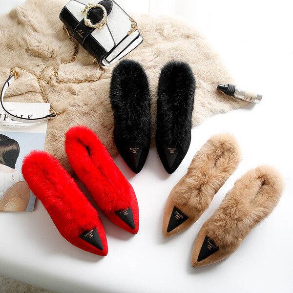 Ballerines Mocassins chaussures Élégant Fourrure Beige rouge Cuir Synthetique