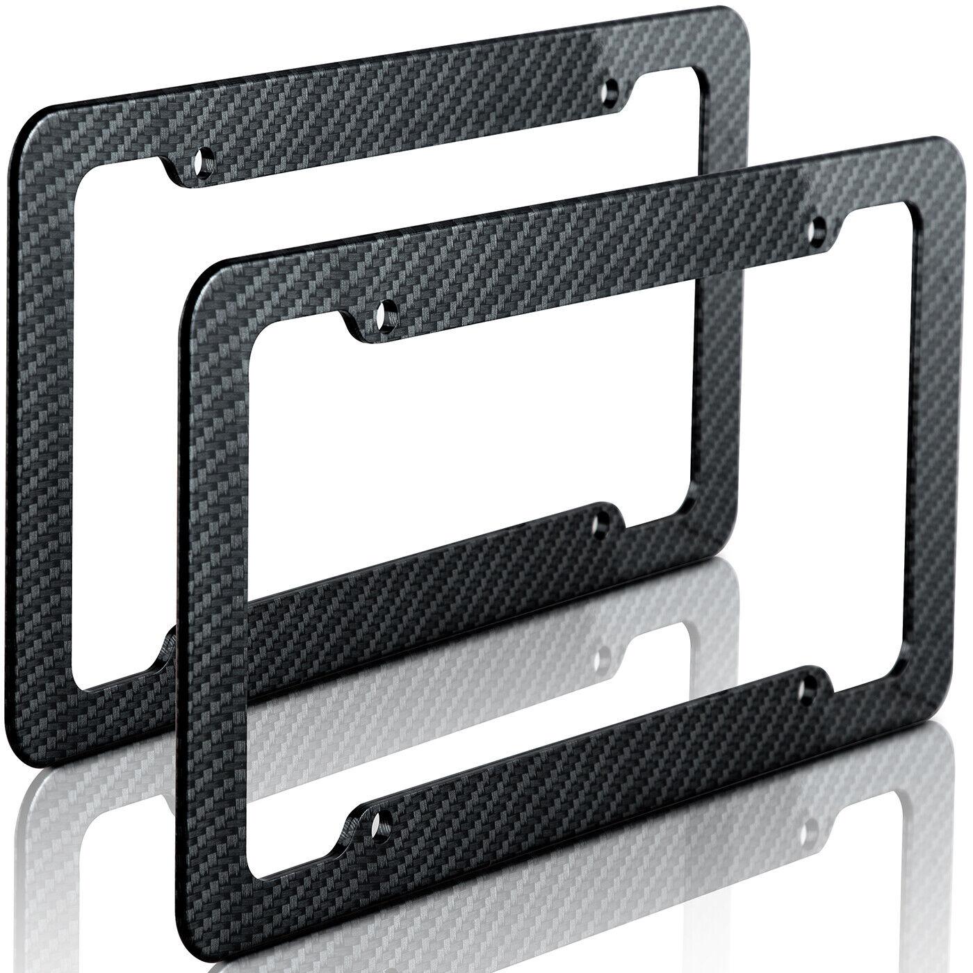 2pc Plastic Carbon Fiber Style OxGord License Plate Frames for Auto-Car-Truck-A