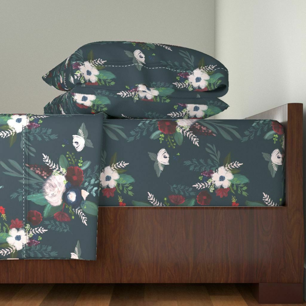 Floral Moody Floral Flowers Maroon 100% Cotton Sateen Sheet Set by Roostery