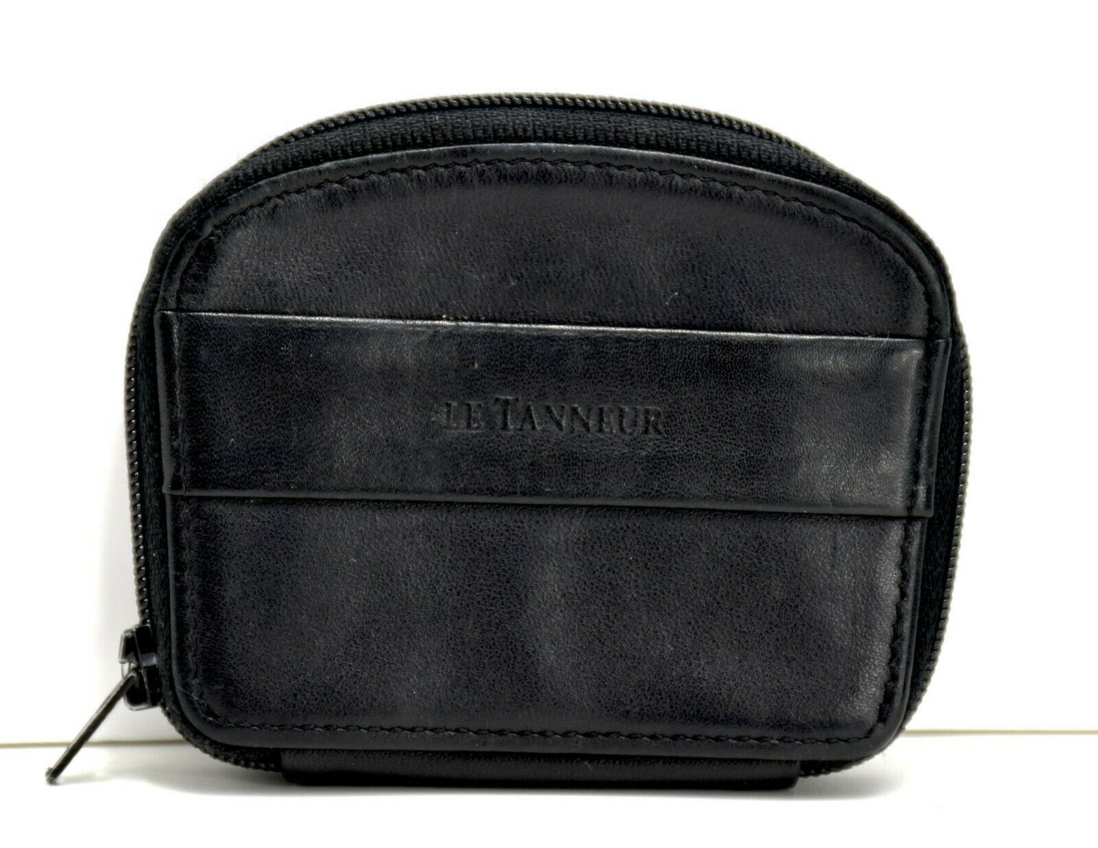 Le Tanneur Leather Womens Leather Zip Coin Purse Wallet with Zip Closure Black
