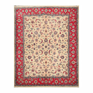 "8'2"" x 10'4"" Hand Knotted Wool Kashann Traditional 300 KPSI  Area Rug Beige 8x10"