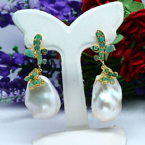 NATURAL-WHITE-BAROQUE-PEARL-amp-GREEN-EMERALD-EARRINGS-925-STERLING-SILVER