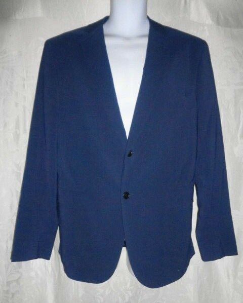 New DAVID AUGUST Navy Blau Stretch Silk Sport Coat 40 41L 3K