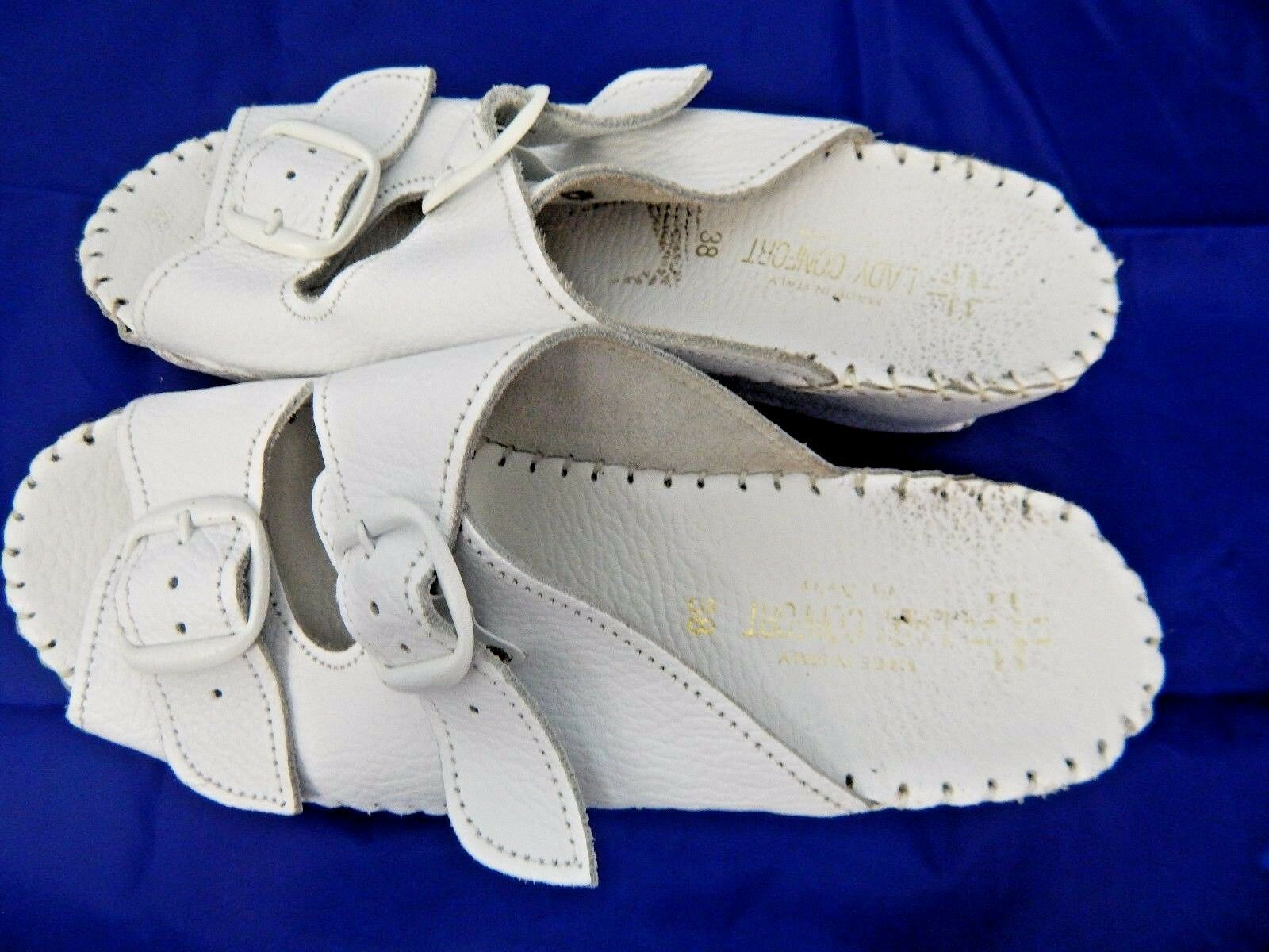 Lady Comfort Crafted White Leather Sandals Hand Crafted Comfort Made in Italy Sz 38/8B a94537