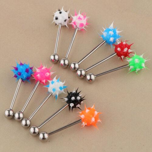 Blesiya 10Pcs 14G Lip Tongue Bar Barbell Ear Ring Stud Piercing Jewellery