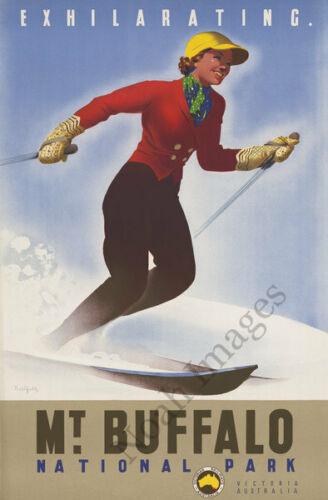 Mt Buffalo National Park Australia vintage ski travel poster repro 12x18