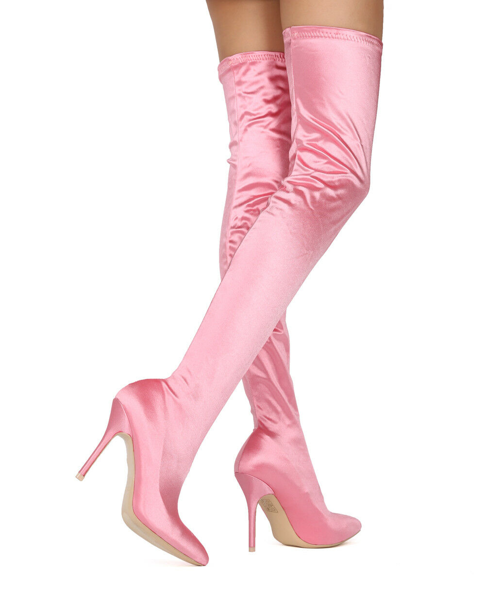 NEU Damens Mackin J 142-5 Satin Thigh High Pointy Toe Stiletto Stocking Boot