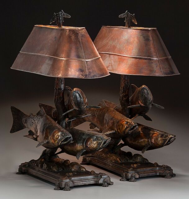 A PAIR OF GEORGE NORTHUP BRONZE AND COPPER TROUT TABLE Lot 77081