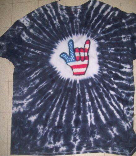 ADULT Handmade tie dye shirt HEART STAR EAGLE PEACE ROCKER HAND AMERICAN FLAG