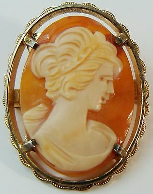 ANTIQUE 925 STERLING SILVER HAND CARVED SHELL CAMEO BROOCH PIN COLLECTIBLE