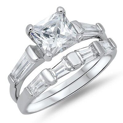 Sterling Silver Engagement Wedding Promise Ring Set Princess Cut Clear CZ Sz 5-9