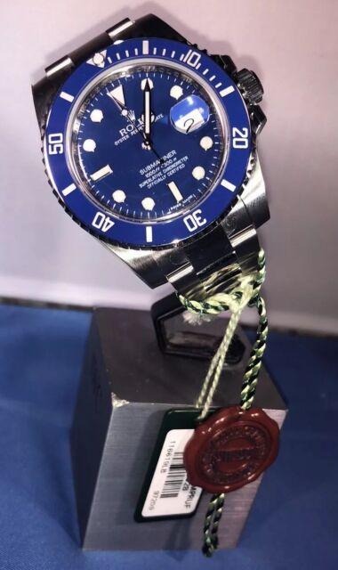 Unworn Rolex 116619 18k White Gold Ceramic Submariner Blue Dial