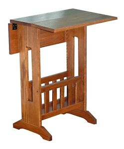 Amish-Furniture-Mission-Style-Double-Drop-Leaf-Oak-Accent-Table-with-Storage-USA