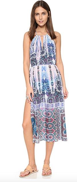 168 NANETTE LEPORE Size XS X-Small Paros Paisley Paisley Paisley Pink bluee Coverup Midi Dress b324bb