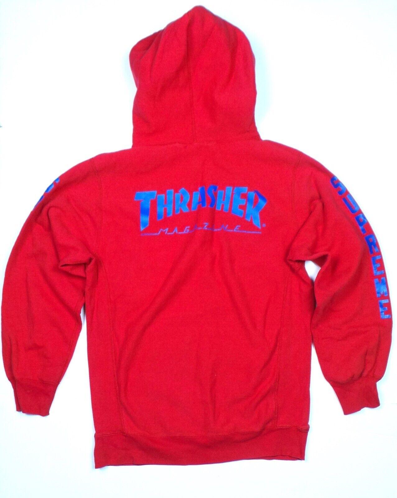 Authentic Supreme x Thrasher Hooded SweatHemd rot Größe XL