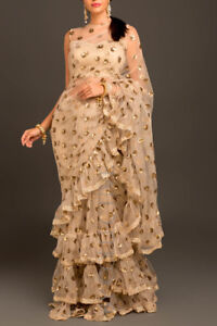 Sequins Embroidery Gold Wedding Saree Ruffle Border Indian Frill