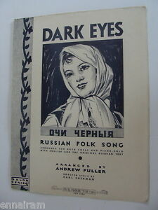 Dark Eyes Russian Folk Song English/ Russian Lyrics 1932 ...