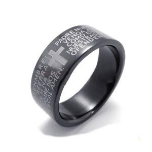 Anello-Con-Nostro-Padre-Preghiera-Croce-Acciaio-Religione-color-Oro-nero-silverj
