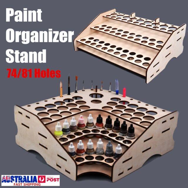 Wooden Color Paint Bottle 74&81 Pots Storage Rack Holder Modular Organizer Stand