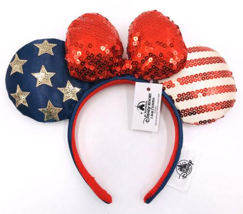 Disney Parks Blue Rare Gift Stars Minnie Ears Bow American Flag Sequins Headband