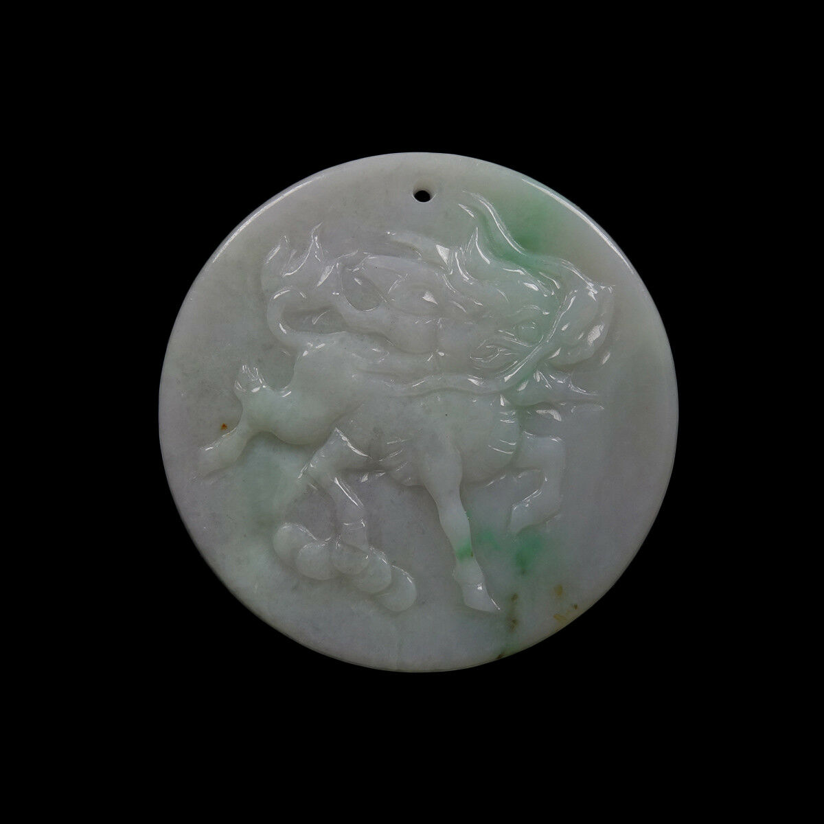Certified Grade A 100% Natural Green Jadeite Jade Pendant Carved Kylin 麒01265