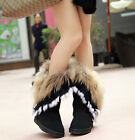 Women's Mid Calf Leather Snow Boots Real Rabbit Fox Fur WInter Fur Lining Boots