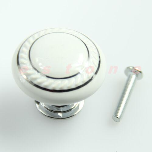 White Ceramic Door Knob Drawer Wardrobe Kitchen Cabinet China Pull Handle New
