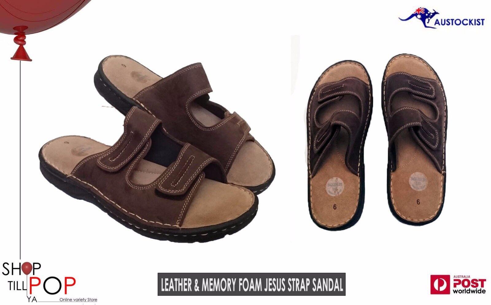 "Slip On Sandals Leather & Memory Foam Mens 2 adj"" straps BNWT High Quality"