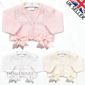 9ae328cad GIRLS BABY BOW CARDIGAN SPANISH STYLE BOLERO BOWS KNITTED AGES 0M TO ...
