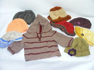 Lot de 9 articles Bébé Crochet FAIT MAIN Bonnets Gilet capuche 1 à 3 ans laine