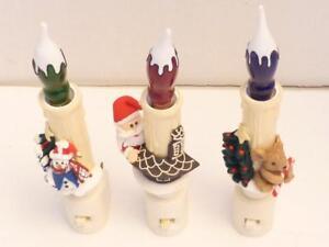 3 Holiday Nightlights Santa Snowman Mouse Green Red