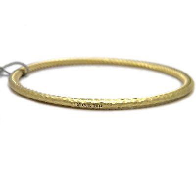 David Yurman 18k Yellow Gold Hammered Outside Cable Inside Bangle Bracelet NWT