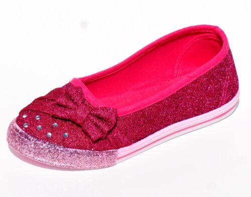 Girls Kid Glitter Ballet Rhineston Slip on Bow Casual Sneaker Shoes Sparkle Flat