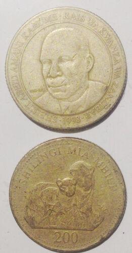 Tanzania 200 Shilingi 1998 Doulbe Lions 27mm Brass Coin 1pcs