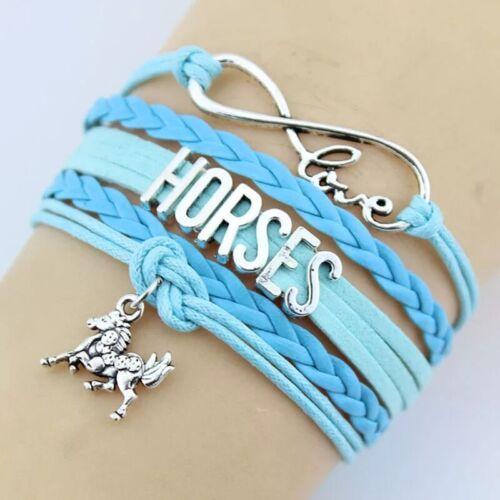 Damen Herren Charme armband  Hors unisex Retro Liebe Pferd Anhänger Hors Zinn