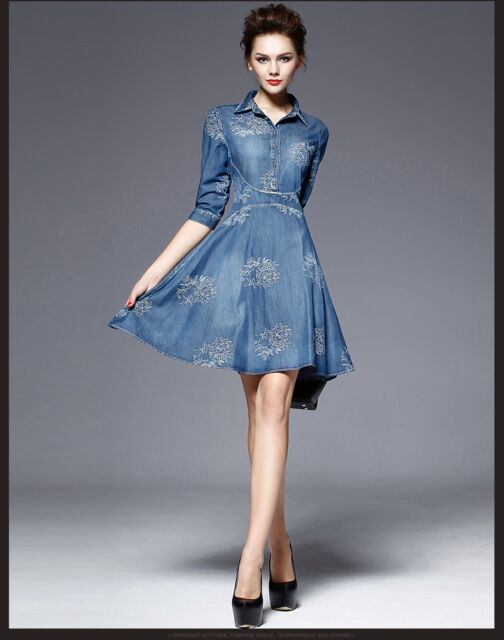 Women Fashion Slim Fit Denim Jean Dress Bowknot Belt Long Sleeve Shirt Dress